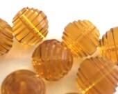 vintage Swarovski (6) large beads deco lantern spiral Topaz art 5030 golden honey crystal Rare large 12mm (6)