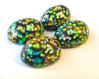 Price Drop Vintage glass (4) opal stone black Cherry Brand Japan harlequin foil inclusion metallic confetti frit oval 17 x 13mm 18x 13mm (4)