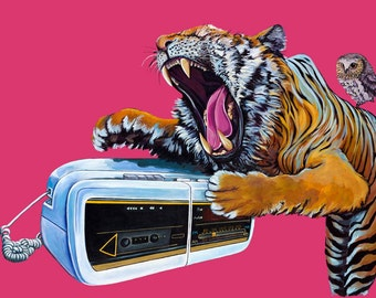 Digital Print from original Artwork 11.5 x 16.5 of large White and Orange Tiger with owl and vintage clock radio phone on dark pink