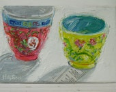 Reserved for Kate Asian Bowls original acrylic mixed media painting by Polly Jones