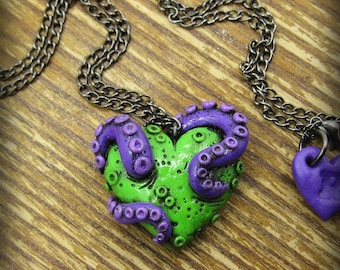Tentacle Zombie Heart Necklace
