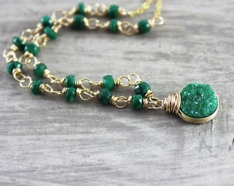 Green Druzy Necklace, Gold Filled Necklace, Wire Wrap Necklace, Emerald Gemstone Necklace, May Birthstone, Circle Pendant Necklace