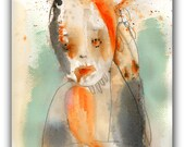 "ORIGINAL Collage Drawing, Abstract Portrait,  Acrylic, Watercolor- Illustration Art  by Christina Romeo......""Resentment"""