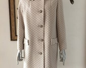 60s Mod Textured Geometric Polyester Coat