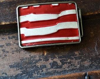 Patriotic Michigan License Plate Belt Buckle - Men's Belt Buckle - Fathers Day Gift