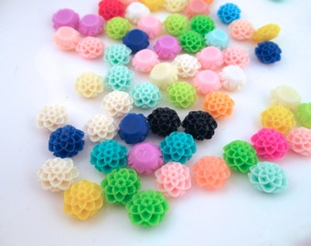 10 multicolor 10mm dahlia cabochons, cute flower cabs