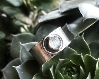 Labradorite Ring,  Wide Band Sterling Silver Rings, Alternative Engagement Ring, Alternative Wedding Band, Rustic Ring, Hammered Silver