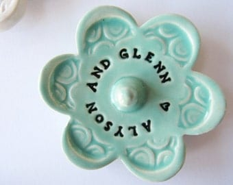 Ring Holder - Stamped with Personalized message - Custom Message, Ceramic Pottery, Takes 2 weeks to Produce