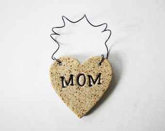 Mom Heart Ornament, ceramic clay, personalized, handmade, ready to mail