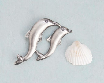 Vintage Sterling Silver Dolphin Brooch - mother and baby swimming dolphins pin - hollow puffy silver