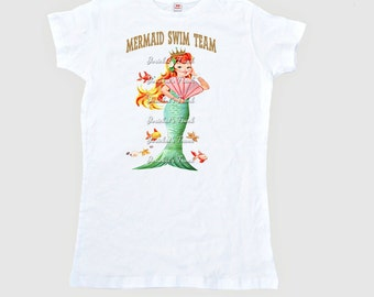 "Mermaid Shirt SALE - Small Woman Mermaid Tee - SALE Women's ""Mermaid Swim Team"" T Shirt - Adult Size SMALL - Ready to Ship Mermaid Shirt"
