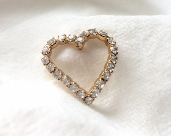 Vintage Open Heart Gold tone Clear Rhinestone Small Scatter Tack Pin Brooch, Love, Anniversary Valentine's, Wedding, Bridesmaid