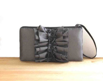 SALE Charcoal Gray Ruffle Clutch- Pewter Bridesmaids Clutch