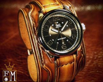 """Leather cuff watch Brown Tobacco fade 2"""" wide layered Brown watch band cuff Bracelet  Handmade for YOU in NYC by Freddie Matara"""