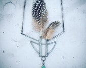 Turquoise Feather Vase Necklace