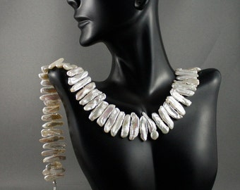 Long stick pearl necklace. Biwa pearls. Gorgeous boho necklace. Organic pearls