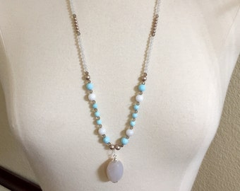 Boho style, long and layered, light turquoise, marble, pearls, brown, white, pendant necklace, sterling silver, vacation necklace, beaded