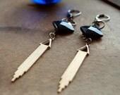 Oracle Blue Goldstone Art Deco Dangle Earrings / Long Deco Earrings / Brass Modern Earrings / Triangle Dangly Earrings / Pointed Earrings