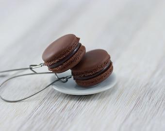Chocolate Macaron Earrings