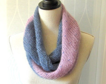 Women Hand Knit Infinity Scarf with Beads - Lavender Blue