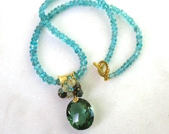 Radiant Prasiolite, Apatite, Sapphire, Pendant Necklace in 14k Gold fill...