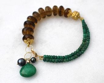 Fix Up, Look Sharp...Emerald, Whiskey Quartz Multi gemstone layering bracelet in 14k Gold fill...
