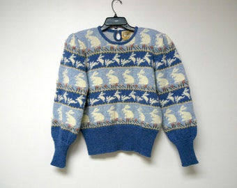 """1988 Moussie by Susan Bristol . rows of bunnies wool sweater . puffy sleeves . size 38 . bust 40"""""""