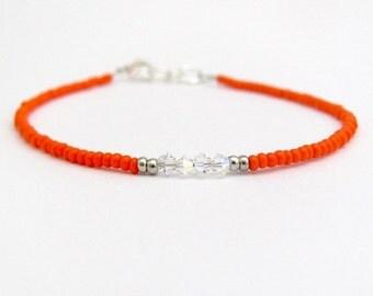 Orange Friendship Bracelet, Swarovski Crystal Bracelet, Seed Bead Bracelet, Orange Bracelet, Friendship Bracelet, Stacking Layer Neon Orange