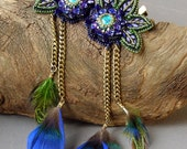 Set of Beaded Lace Flower Hair clip/Brooch with Brass Chain and Feathers