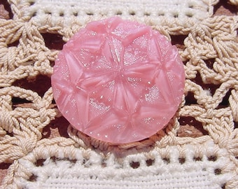 Carnation Pink Moonglow Quilt Pattern Vintage Czech Glass Button