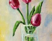 Tulip Still Life, Floral Oil Painting, Original Small 4x5 Canvas, Pink Blooms, Spring Flowers, Minimalist Design, Miniature Wall Decor