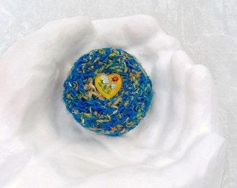 Heart Gift for Her - Handmade Silk Basket - Unique Decorative Blue Basket with Embellished Lid - Garden Flower Inspired Color Basket STB041