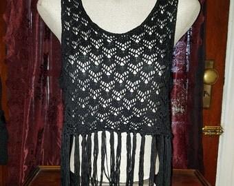 Black Crochet Fringe Crop Top Hippie Boho Bohemian Gypsy S/M