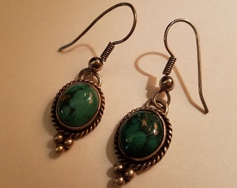 Vintage Sterling Silver Green Turquoise Dangle Earrings
