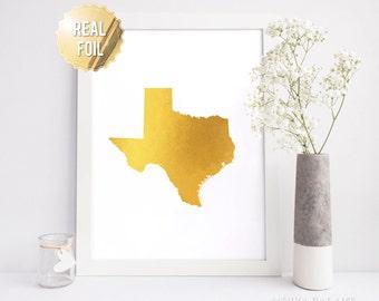 Texas Decor - Texas Map Print - Gold Foil Wall Art - Texas State - TX state map - Real Gold Foil - Texas Poster - Austin Texas Print