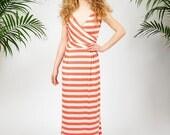 Catalina maxi dress in coral stripes
