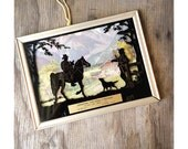 Vintage Advertising Silhouette - Cowboys 1940s - Painted on Glass - Oxnard California