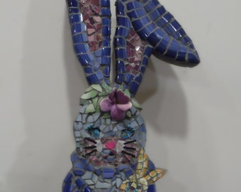 Indigo Rabbit long eared bunny with baby broken china mosaic picassiette