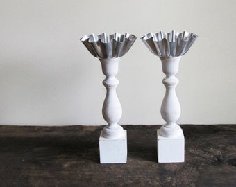 Set of 2 - Wood Spindle Display or Candle Holders