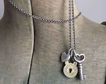 Vintage Lock Heart Key Sterling Puffy Heart Charm Necklace 34 Inch Long Sterling Silver Cable Chain