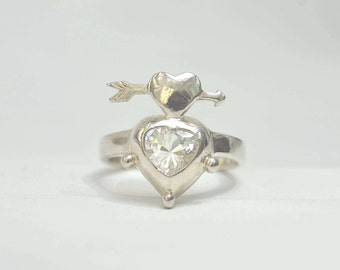 Silver Heart Ring, Sterling Silver Ring, Vintage Silver Ring, Crystal Ring, Size 7 Ring, Sterling Ring, CZ Ring, Sterling Ring, 1980's Ring