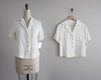 boxy cream linen blouse | vintage 90s linen shirt