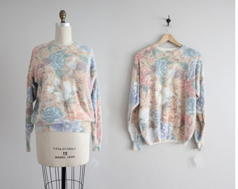 silk & angora sweater | faded floral sweater | silk sweater