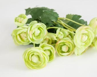 15 Small Mini LIght Lime Green Ranunculus - silk flowers, artificial flowers, - ITEM 0260