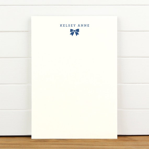 DARLING Personalized Notepad - Ribbon Bow Baby Child Girl Custom Letterhead