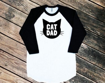 Cat Dad Black Raglan Sleeve Baseball Style TShirt with Black print - Family Photos, Father's Day, Gift for Him, Crazy Cat Dude, Guy