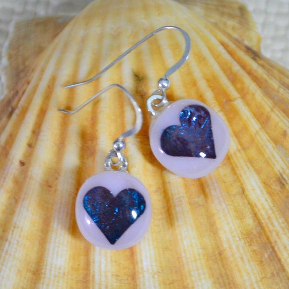 Glass Heart Earrings Baby Pink with Teal Blue & Rose Pink Encased Hearts Drop Dangly Sterling Silver Hook Wires with Gift Box