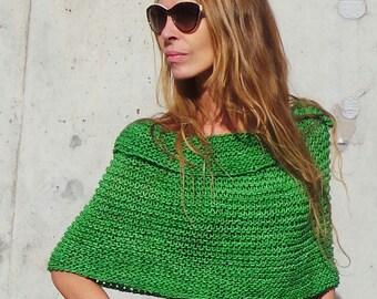 women's green poncho, cape, hand knit, Peruvian wool