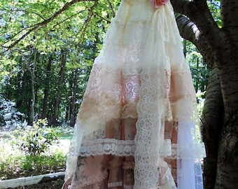 Ivory Lace dress wedding floral   tulle romantic peach cream boho outdoor fairytale small medium by vintage opulence on Etsy