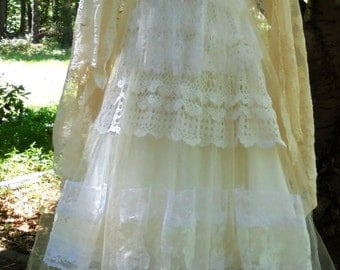 Ivory Lace dress wedding  tulle romantic boho outdoor fairytale small by vintage opulence on Etsy